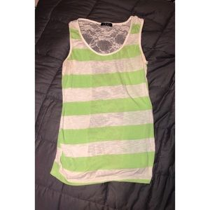 Green Striped Lace Back Tank top